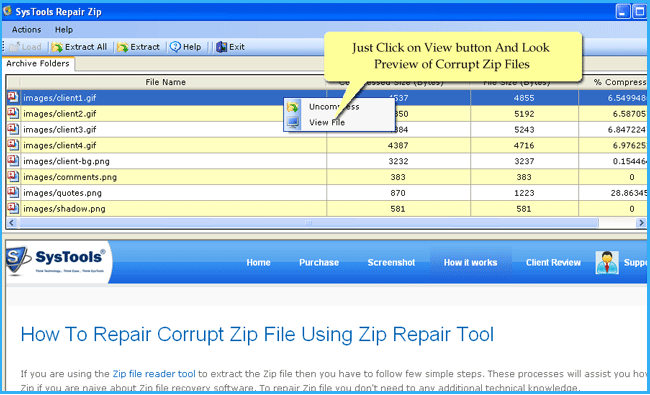 recovery of zip file